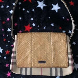 (Small) Burberry Shoulder Purse with Snake Skin
